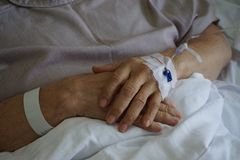 Patient hand drip receiving a saline solution and oxygenation on the bed in hospital. Skin rejuvenation. Nice skilled beautician holding a female hand while stock image