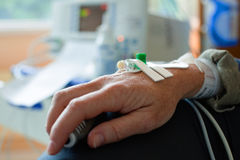 Patient hand with needle for intravenous dropper Stock Image