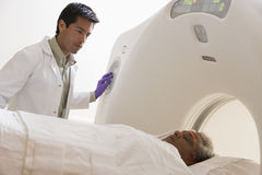 Patient Having A CAT Scan. Female Patient Having A CAT Scan Royalty Free Stock Photo