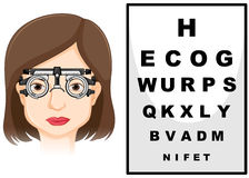Patient having her eyes checked stock illustration