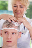Patient with head wound Stock Photos