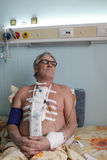 Patient after heart surgery. In a hospital ward Royalty Free Stock Photography