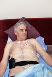 Patient with a Holter monitor Stock Photo