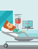 Patient in hospital bed being monitored Royalty Free Stock Photography