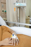 Patient on hospital bed Royalty Free Stock Image
