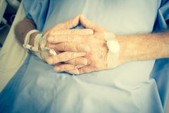 Patient In Hospital Bed And Having Iv Solution Drop Stock Image