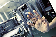 Patient in hospital pressed his hand to the glass Royalty Free Stock Image