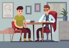 Patient i doktorskontor Patienter för medicinsk för hjälp för sjukvårdsjukhusläkare vård- för konsultation behandling för diagnos royaltyfri illustrationer
