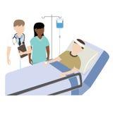 Patient i sjukhussäng med doktorn och sjuksköterskan Arkivfoton