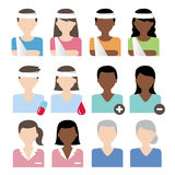 Patient icons vector. Vector illustration of patient and nurse Vector Illustration