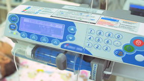 Patient in ICU with ECG monitor and intraaortic balloon counterpulsation. stock video
