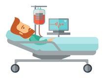 Patient im Krankenhausbett, das überwacht wird Stockfoto