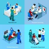 Patient Isometric Icon Set医生的 库存图片