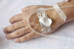 Patient with IV drip Stock Image