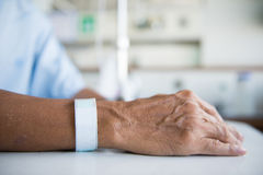 Patient with IV drip and hand tag Royalty Free Stock Photo