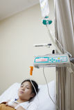 Patient and IV drip machine Royalty Free Stock Image