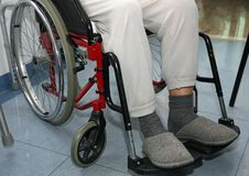 Patient with leg problems over the wheelchairs Stock Images