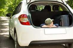Patient little boy ready to leave on holiday Stock Photo