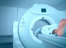 Patient located in the CT machine Stock Image