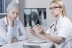 Patient and lungs cancer Royalty Free Stock Image