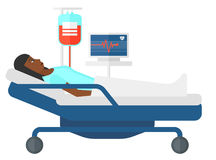 Patient lying in bed Royalty Free Stock Photos