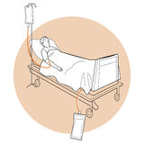 Patient lying on bed, medical bed, patient bed royalty free illustration