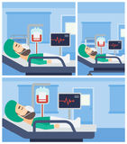 Patient lying in hospital bed with heart monitor. Stock Images