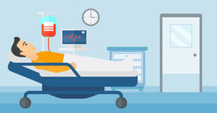 Patient lying in hospital bed. Stock Images