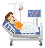Patient lying in hospital bed vector illustration. Royalty Free Stock Photography