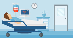 Patient lying in hospital bed. Royalty Free Stock Photos
