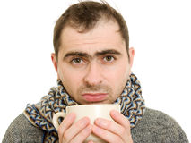 A patient man with a cup. On a white background Royalty Free Stock Photo