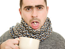 A patient man with a cup and the pill Royalty Free Stock Image
