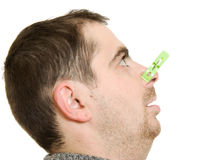 A patient man with a stuffy nose Royalty Free Stock Images