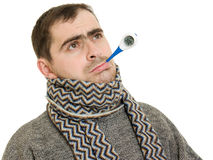 A patient man with a thermometer. On white background Stock Photography