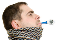 A patient man with a thermometer Stock Photo