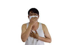 Patient. Man wearing a face mask with cough , isolated on white background with clipping path Stock Images