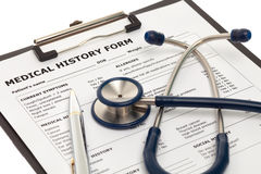 Patient medical history document Royalty Free Stock Images