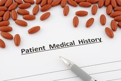 Patient medical history document Royalty Free Stock Image