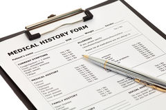 Patient medical history form Royalty Free Stock Image