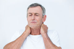 Patient with neck ache Royalty Free Stock Image
