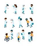 Patient och doktorer Den medicinska personalen och patienter i arbetare för klinikmottagandesjukhus hjälper servicevektorsjukvård vektor illustrationer