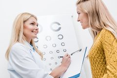 Patient and oculist with diagnosis and eye. Chart behind royalty free stock photo