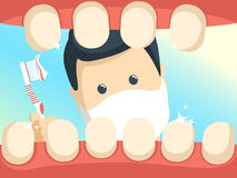 Patient with open throat in dentist office. Stock Photo