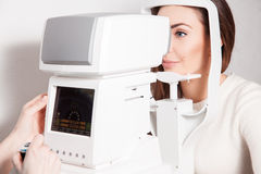 Patient in ophthalmology clinic during the study of computer vis. Ion defects. Ophthalmologist. medical, health, ophthalmology concept Royalty Free Stock Photos