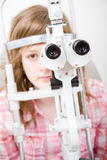 Patient in ophthalmology labor Royalty Free Stock Images