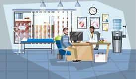 Patient på en medicinsk konsultation i doktorskontor vektor illustrationer