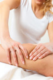Patient at the physiotherapy - massage. Patient at the physiotherapy gets massage or lymphatic drainage Stock Images