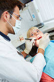 Patient for preventive medical checkup at dentist Royalty Free Stock Photos