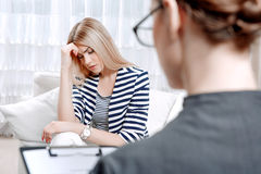Patient at psychological therapy session Stock Photography