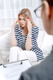 Patient at psychological therapy session Royalty Free Stock Photo